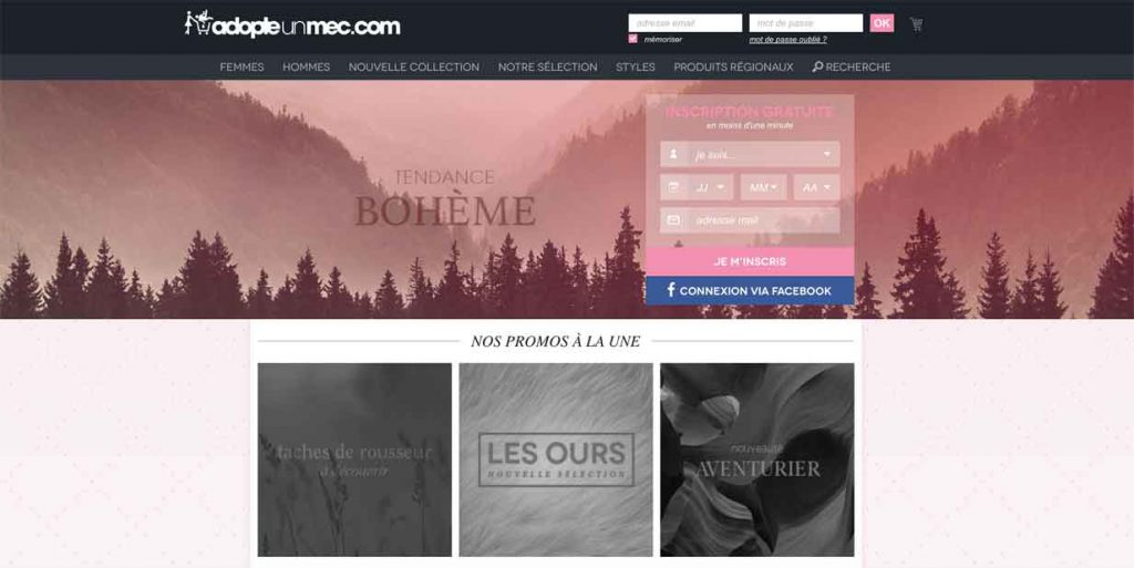 Screenshot du site web Adopte un mec